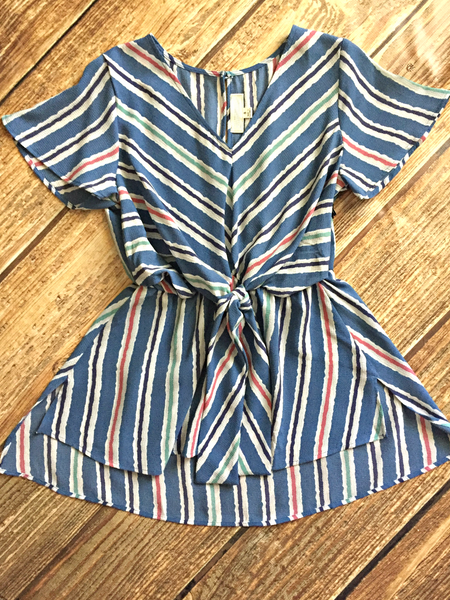 Blue Stripe Wrap Tie Top