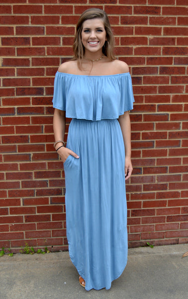 Off Shoulder Maxi Dress - Chambray