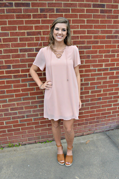 Blush Lace Up Dress