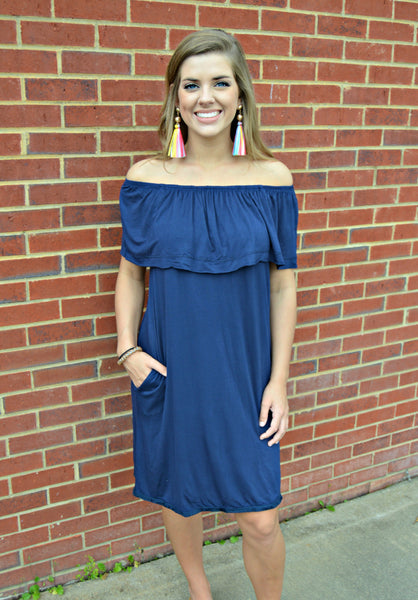 Navy Off Shoulder Dress
