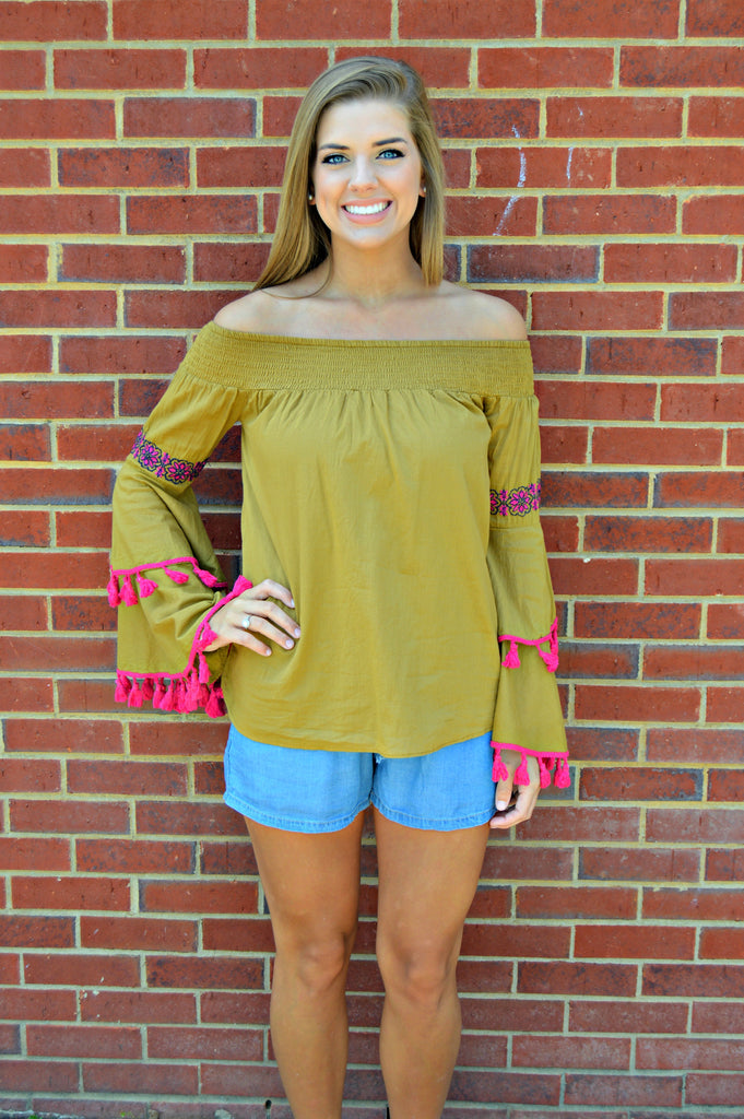 Mustard Off Shoulder Embroidered Top