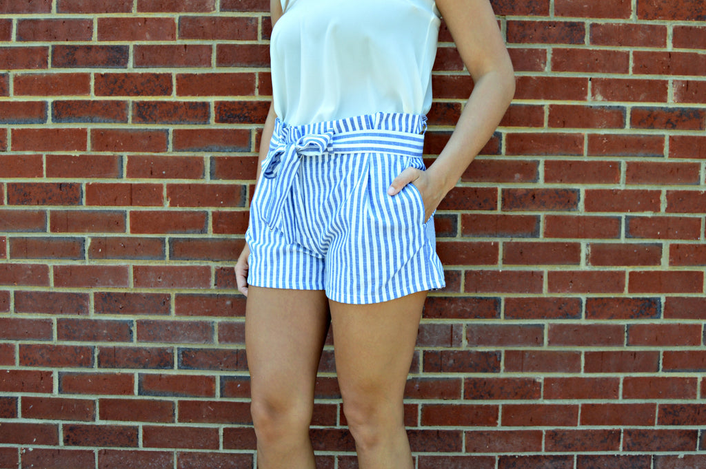 Blue Stripe Tie Shorts