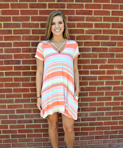 Orange Multicolor Striped Dress
