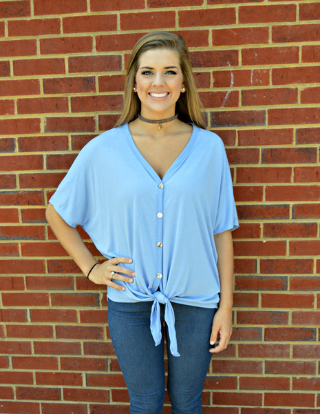 Denim Blue Tie Top