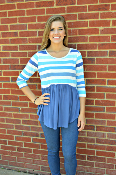 Blue Stripe Babydoll Top