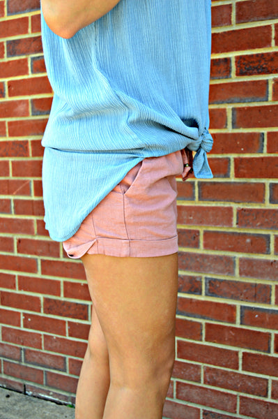 Light Blue Pocket Tie Top