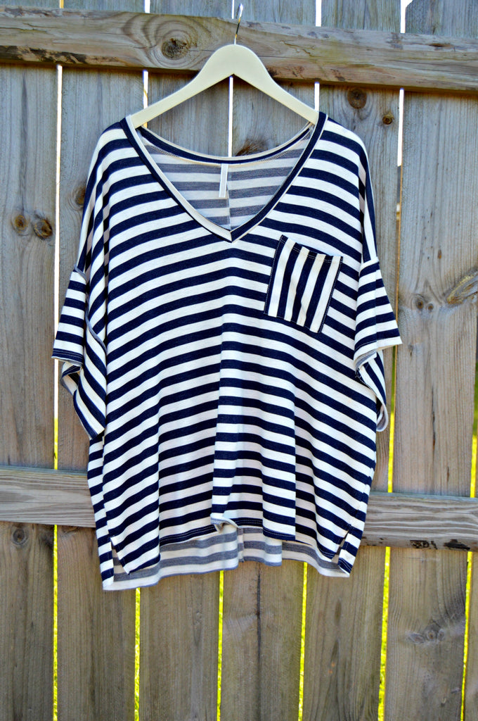 Striped Pocket Tee - Navy
