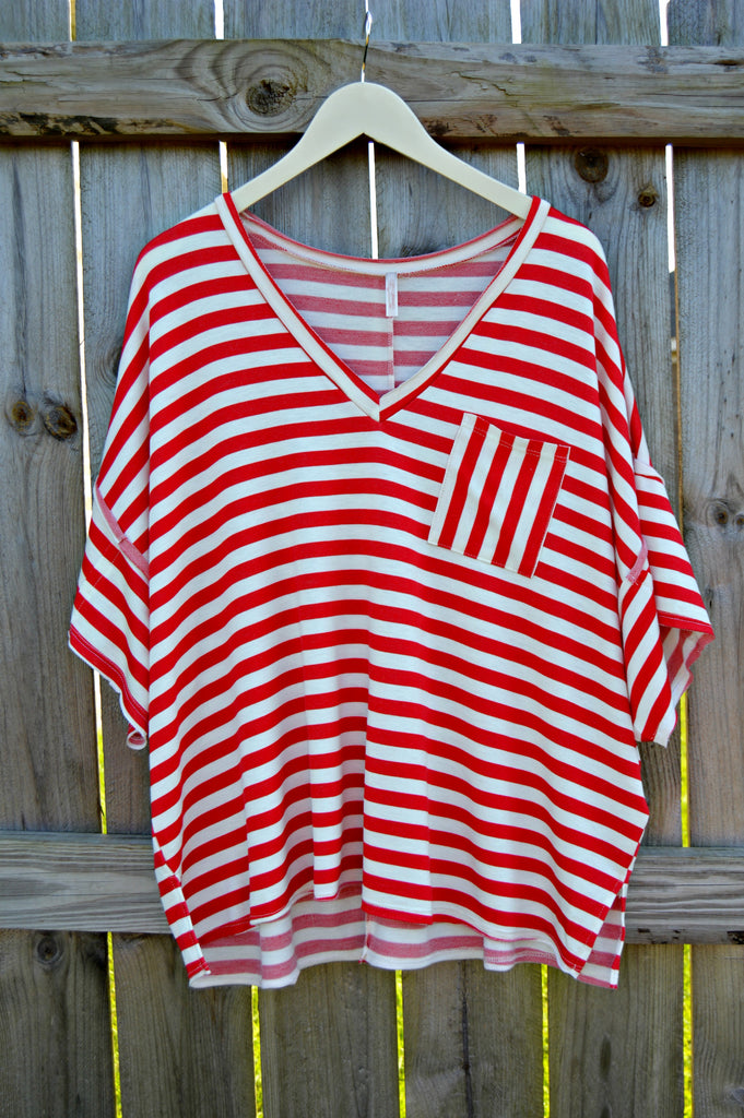 Striped Pocket Tee - Red
