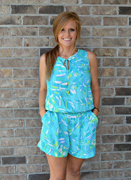 Blue Palm Print Romper