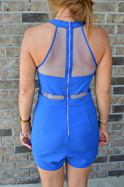 Royal Blue Mesh Romper