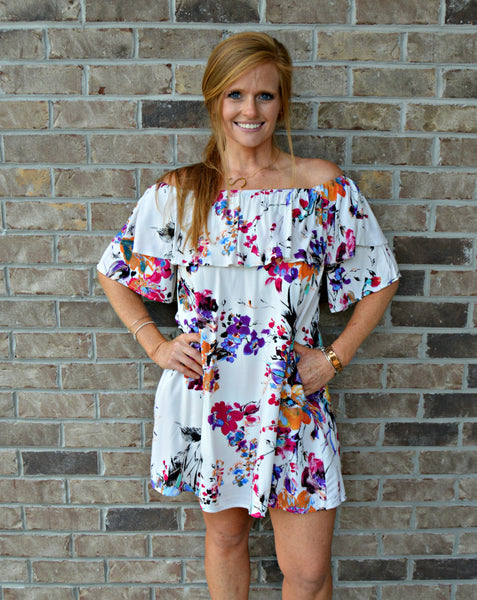 Ivory Floral Print Off Shoulder Dress