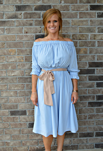 Baby Blue Off Shoulder Midi Dress