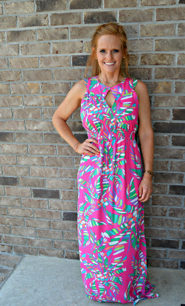 Fuchsia Palm Print Maxi Dress