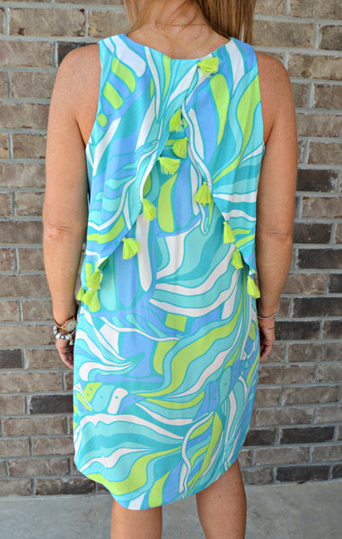 Blue Multiprint Tassel Dress
