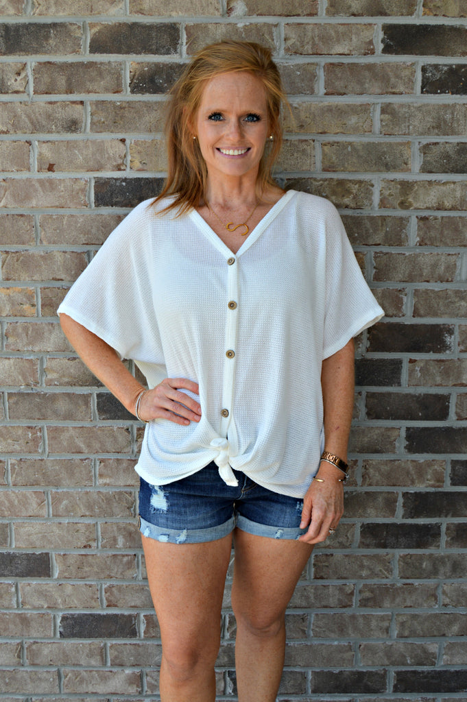 Waffle Knit Tie Top - Ivory