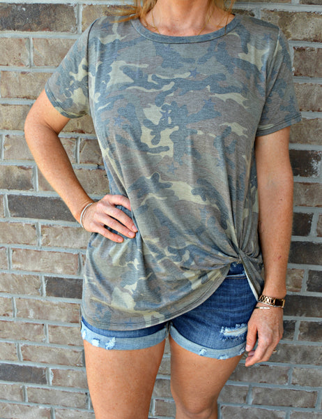 Camo Side Knot Top