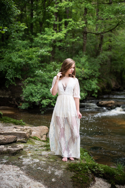 Cream Lace Maxi Dress