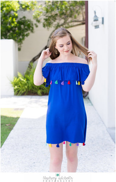 Royal Blue Tassel Off Shoulder Dress