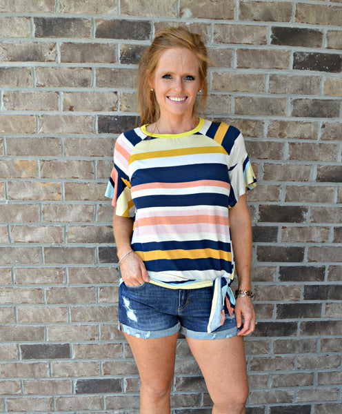 Multicolor Stripe Side Tie Top