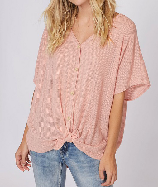 Waffle Knit Tie Top - Blush