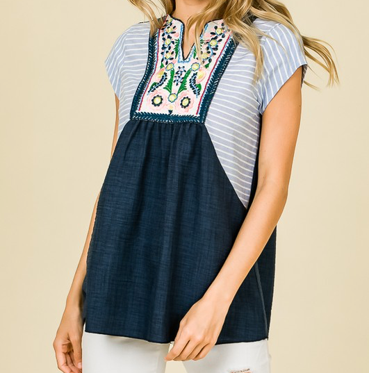 Navy Embroidered Stripe Top