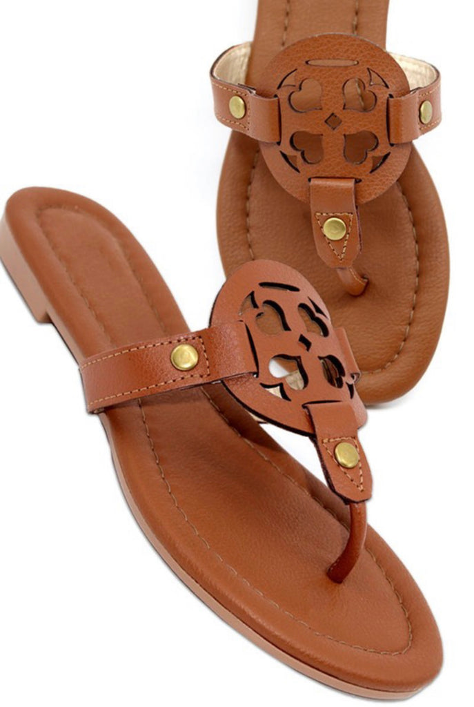 Tan Heart Medallion Sandals