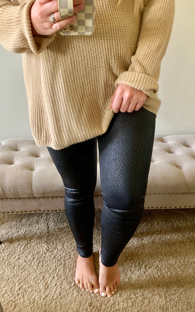 Black Leather Snake Leggings