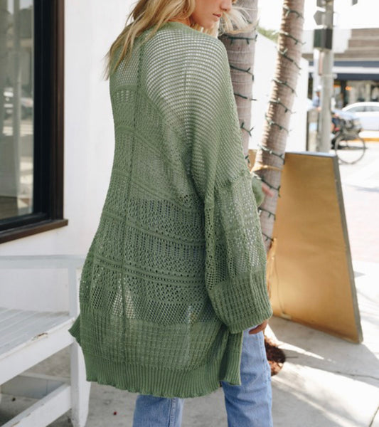Loose Knit Cardigan - Light Olive