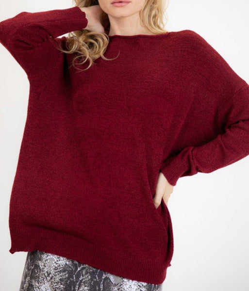 Sweet & Simple Sweater- Wine