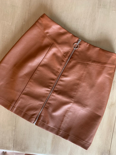 Faux Leather Zip Skirt- Camel