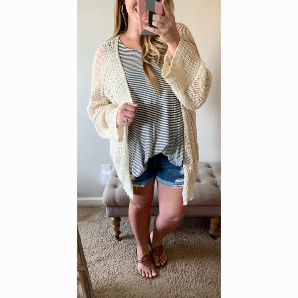 Loose Knit Cardigan - Cream