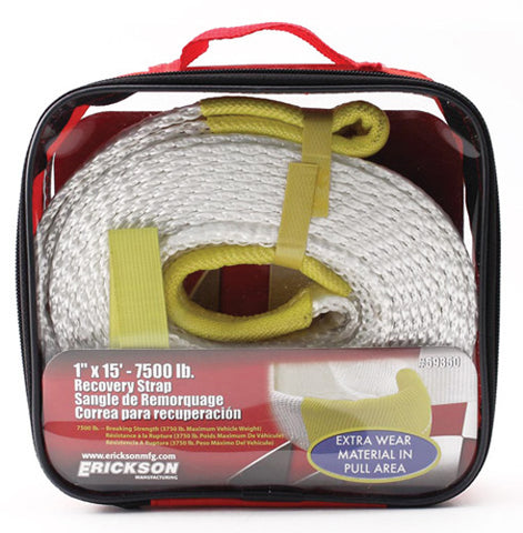 "ERICKSON 1"" X 15' 7500 LB RECOVERY STRAP WITH STORAGE BAG 59350"