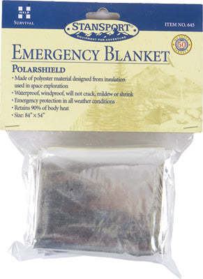 STANSPORT POLARSHIELD EMERGENCY BLANKET STANDARD SHIRT POCKET SIZE 2OZ 645