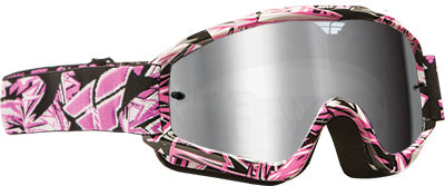 FLY RACING ZONE PRO GOGGLE PINK W/ CHROME/SMOKE LENS PART# 37-2263