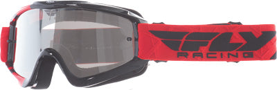 FLY RACING ZONE YOUTH GOGGLE RED/BLACK W/ CLEAR/FLASH CHROME LENS PART# 37-3025