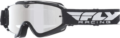 FLY RACING ZONE YOUTH GOGGLE BLACK/WHITE W/ CHROME/SMOKE LENS PART# 37-3026