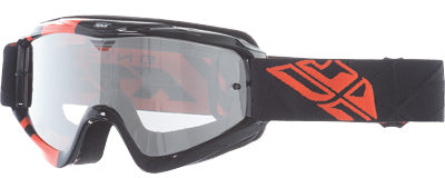 FLY RACING ZONE YOUTH GOGGLE BLK/ORG W/ CLEAR/FLASH CHROME LENS PART# 37-3028