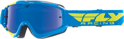 FLY RACING ZONE GOGGLE BLUE/HI-VIS W/ BLUE CHROME/SMOKE LENS PART# 37-3024