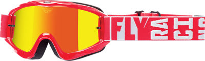 FLY RACING ZONE TURRET GOGGLE RED W/ FIRE MIRROR/SMOKE LENS 37-4062
