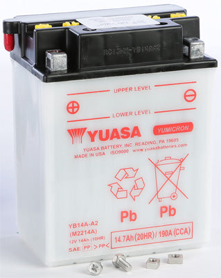 YUASA 1991-1993 Big Boss 250 6x6 BATTERY YB14A-A2 YUAM2214A PLT-250 Polaris