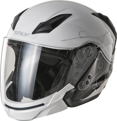 FLY RACING TOURIST HELMET CIRRUS WHITE/SILVER LARGE PART# F73-8109~4