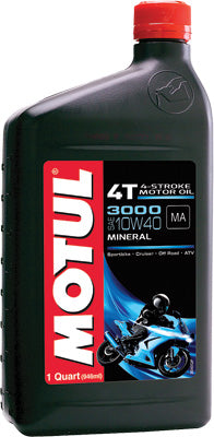 MOTUL 3000 PETROLEUM OIL 10W-40 1QT PART# 2801QTA