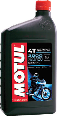 MOTUL 3000 PETROLEUM OIL 20W-50 1QT PART# 2800QTA