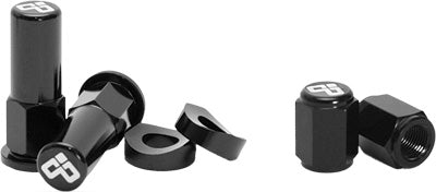 DUBYA RIM LOCK NUT & VALVE CAP KIT BLACK #68-051B