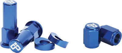 DUBYA RIM LOCK NUT & VALVE CAP KIT BLUE #68-051D