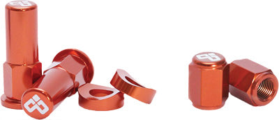 DUBYA RIM LOCK NUT & VALVE CAP KIT ORANGE #68-051O
