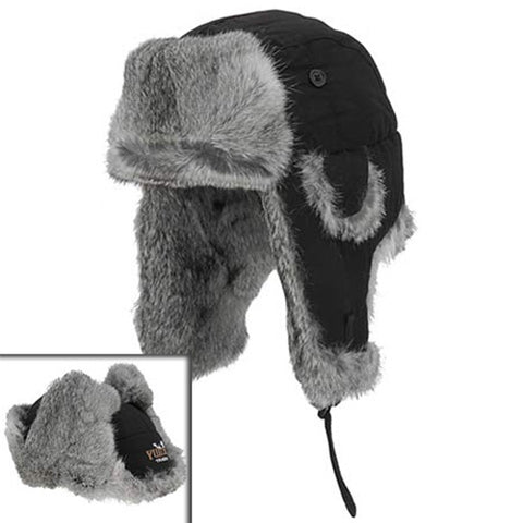 YUKON HG501 TRACKS TASLAN ALASKAN HAT W RABBIT FUR TRIM YOUTH S