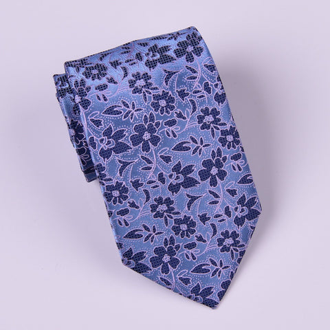 B2B Shirts - Blue Hawaiian Hibiscus Regular Tie w Ocean Surf Floral Luxury Fashion - Business to Business