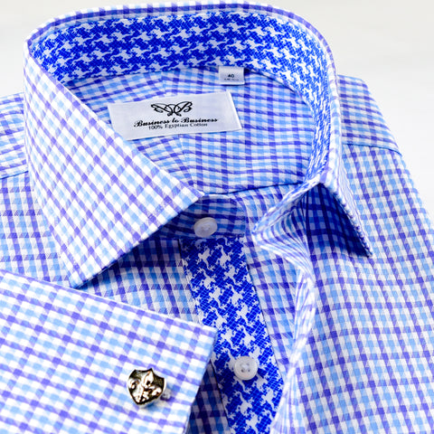 Purple White Blue Tattersall Plaid Checkered Formal Business Dress Shirt