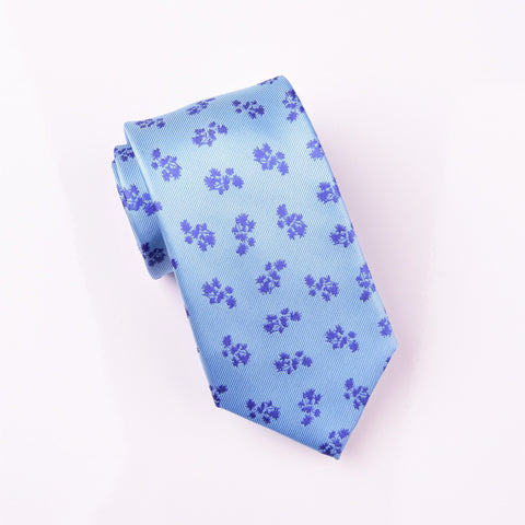 "B2B Shirts - Blue Sunflower Field on Light Blue Overlay Super Woven Tie 3"" - Business to Business"
